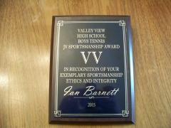 2015 JV Sportsmanship Award Ian Barnett