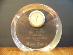 2015 JV Will To Win Award Skyler Hamm