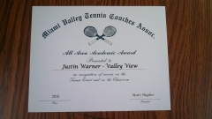 2015 MVTCA Academics All Area Justin Warner