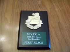 2015 MVTCA JV Tournament 2nd Doubles 1st Place Trophy Ian Barnett, Ben Lewan
