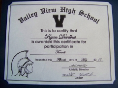 2015 Participate Certificate Ryan DeVilbiss