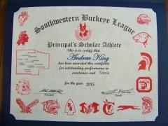 2015 Principal's Scholar Athlete Certificate Andrew King