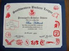 2015 Principal's Scholar Athlete Certificate Ben Holbrook