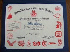 2015 Principal's Scholar Athlete Certificate Ben Lewan