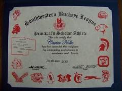 2015 Principal's Scholar Athlete Certificate Carter Nolte