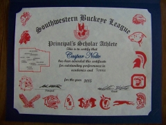 2015 Principal's Scholar Athlete Certificate Caspar Nolte