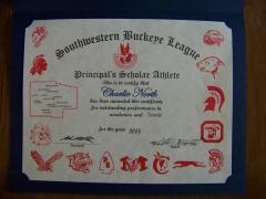 2015 Principal's Scholar Athlete Certificate Charlie North