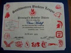 2015 Principal's Scholar Athlete Certificate Chase Midkiff