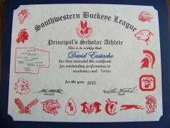 2015 Principal's Scholar Athlete Certificate David Eustache