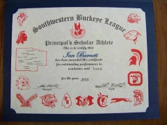 2015 Principal's Scholar Athlete Certificate Ian Barnett