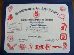 2015 Principal's Scholar Athlete Certificate Jared Brown