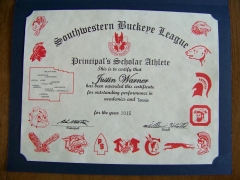 2015 Principal's Scholar Athlete Certificate Justin Warner
