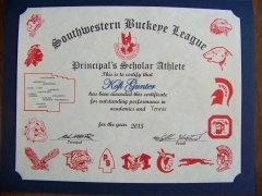 2015 Principal's Scholar Athlete Certificate Kofi Gunter