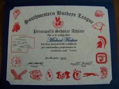 2015 Principal's Scholar Athlete Certificate Michael Fischer