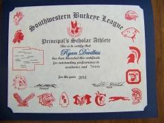 2015 Principal's Scholar Athlete Certificate Ryan DeVilbiss