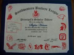 2015 Principal's Scholar Athlete Certificate Skyler Hamm