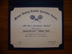 2016 MVTCA Academics All Area Jared Brown