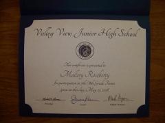 2016 Participate Certificate Mallory Roseberry
