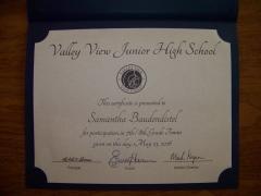 2016 Participate Certificate Samantha Baudendistel