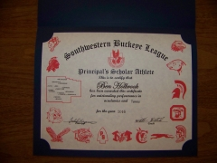 2016 Principal's Scholar Athlete Certificate Ben Holbrook