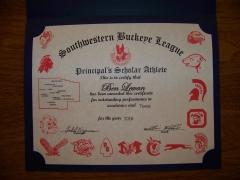 2016 Principal's Scholar Athlete Certificate Ben Lewan