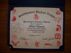 2016 Principal's Scholar Athlete Certificate David Eustache