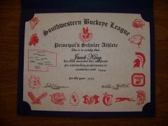 2016 Principal's Scholar Athlete Certificate  Jake King