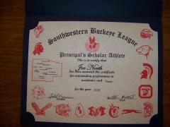 2016 Principal's Scholar Athlete Certificate Joe North