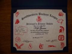 2016 Principal's Scholar Athlete Certificate Kofi Gunter