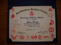 2016 Principal's Scholar Athlete Certificate Lane Powell