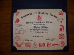 2016 Principal's Scholar Athlete Certificate Michael Fischer