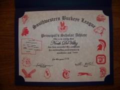 2016 Principal's Scholar Athlete Certificate Noah DeVillez