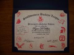2016 Principal's Scholar Athlete Certificate Ryan DeVilbiss