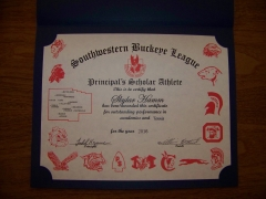 2016 Principal's Scholar Athlete Certificate Skyler Hamm