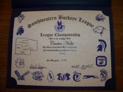 2016 SWBL Champion Certificate Carter Nolte