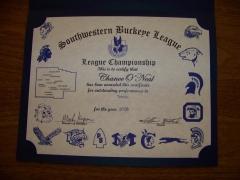 2016 SWBL Champion Certificate Chance O'Neal