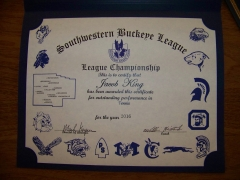 2016 SWBL Champion Certificate Jake King