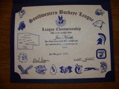 2016 SWBL Champion Certificate Joe North