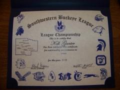2016 SWBL Champion Certificate Kofi Gunter