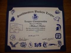 2016 SWBL Champion Certificate Michael Fischer