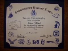 2016 SWBL Champion Certificate Sam North