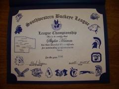 2016 SWBL Champion Certificate Skyler Hamm