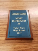 2017 JV Most Improved Award Cameron Cooper