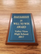 2017 JV Will To Win Award Noah Harrison