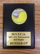 2017 MVTCA JV Tournament 3rd Singles 2nd Place Trophy Noah Harrison