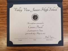 2017 Participate Certificate Carson Powell