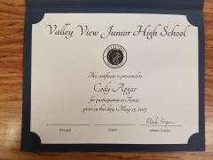 2017 Participate Certificate Cody Apgar
