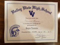 2017 Participate Certificate Dawson Hamm