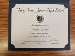 2017 Participate Certificate Jordan Laycock