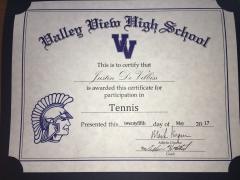 2017 Participate Certificate Justin DeVilbiss